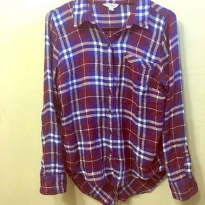Lucky Brand Plaid Button Down Vintage Style top
